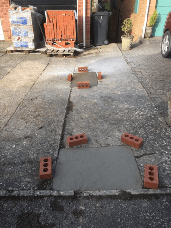 Reinstated concrete driveway